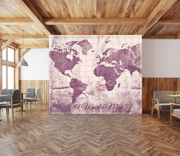 3D Purple Vintage 1390 World Map Wall Murals