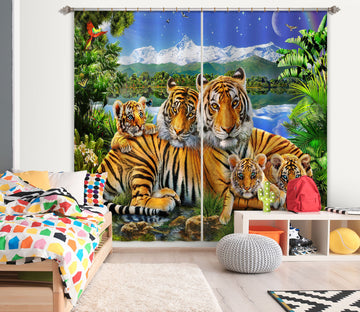 3D Loving Tigers 057 Adrian Chesterman Curtain Curtains Drapes
