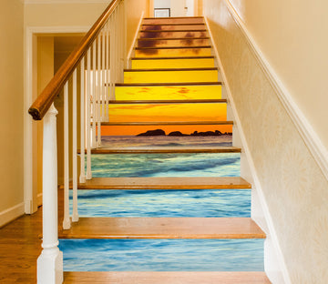 3D Romantic Sunset At The Seaside 625 Stair Risers