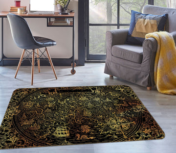 3D Golden Ship 309 World Map Non Slip Rug Mat