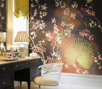 3D Peacock Flower WG22 Wall Murals