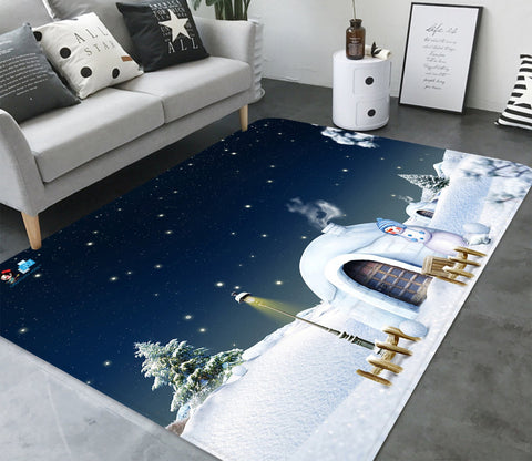 3D Snow House Street Light 027 Non Slip Rug Mat