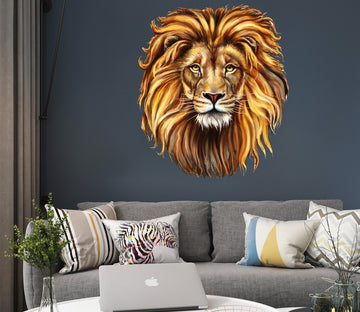 3D Lion Head 005 Animals Wall Stickers Wallpaper AJ Wallpaper