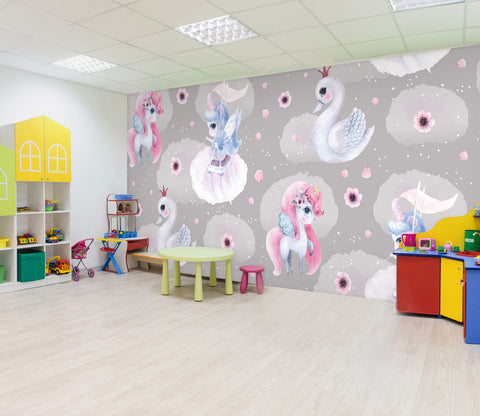 3D Cute Unicorn 043 Wall Murals