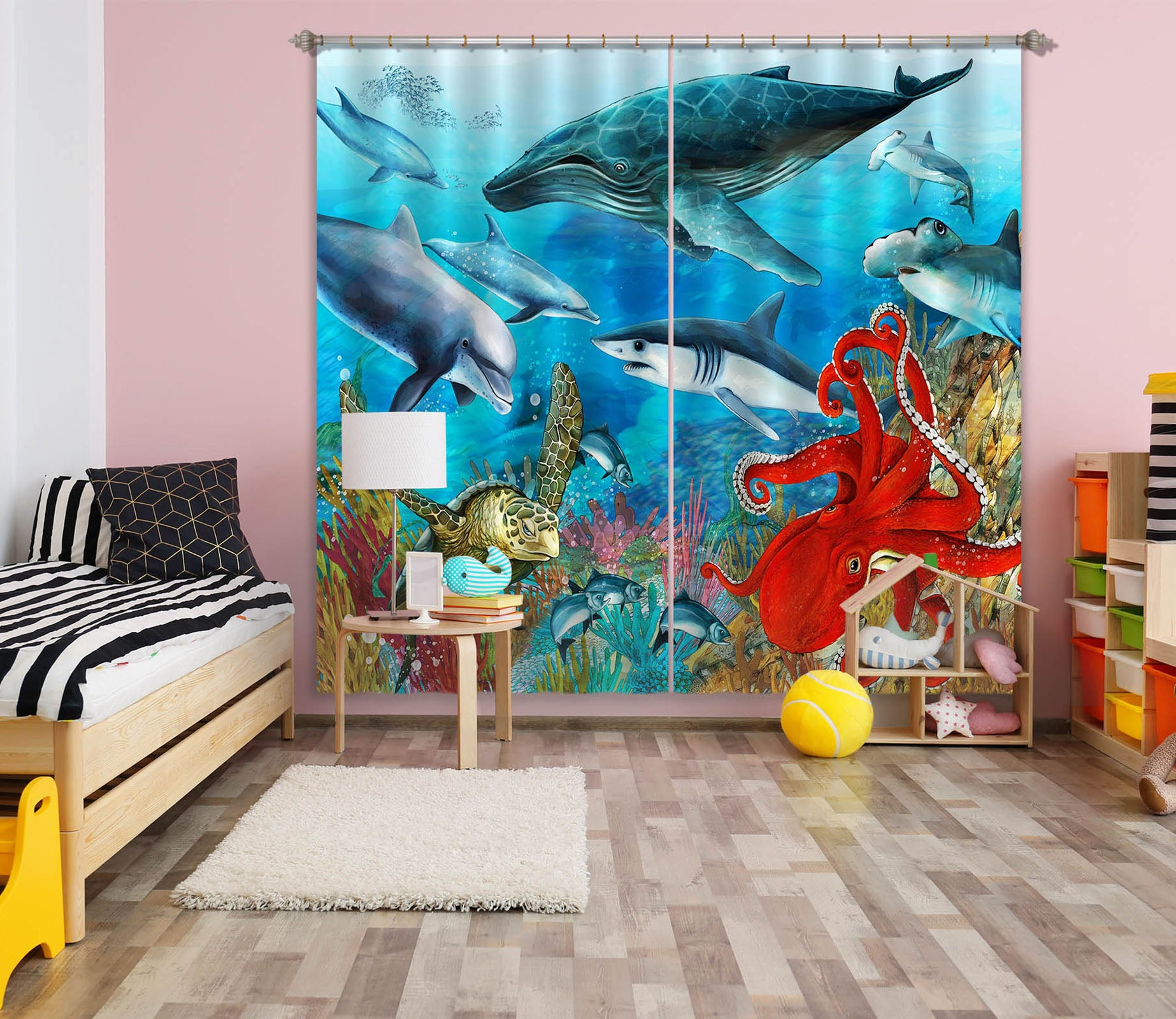 3D Undersea Dolphin 759 Curtains Drapes