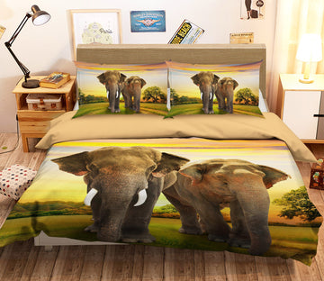 3D Sunset Elephant 124 Bed Pillowcases Quilt