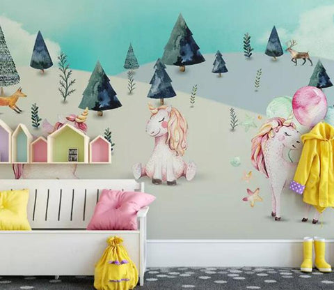 3D Unicorn Forest 648 Wall Murals