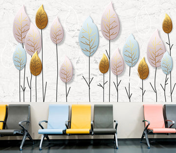 3D Colored Leaves 322 Wall Murals