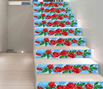 3D Red Rose 2109 Stair Risers