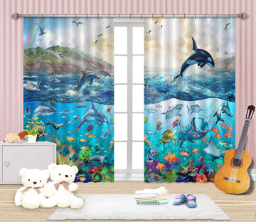 3D Dolphin Jumping 049 Adrian Chesterman Curtain Curtains Drapes