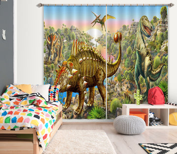 3D Dinosaur World 041 Adrian Chesterman Curtain Curtains Drapes