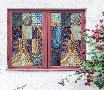 3D Fragment Art 448 Window Film Print Sticker Cling Stained Glass UV Block