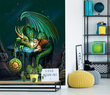 3D Green Dragon 1422 Rose Catherine Khan Wall Mural Wall Murals