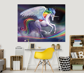3D White Horse 112 Rose Catherine Khan Wall Sticker
