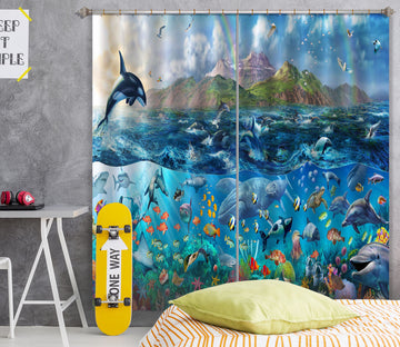 3D Dolphin Jumping 048 Adrian Chesterman Curtain Curtains Drapes