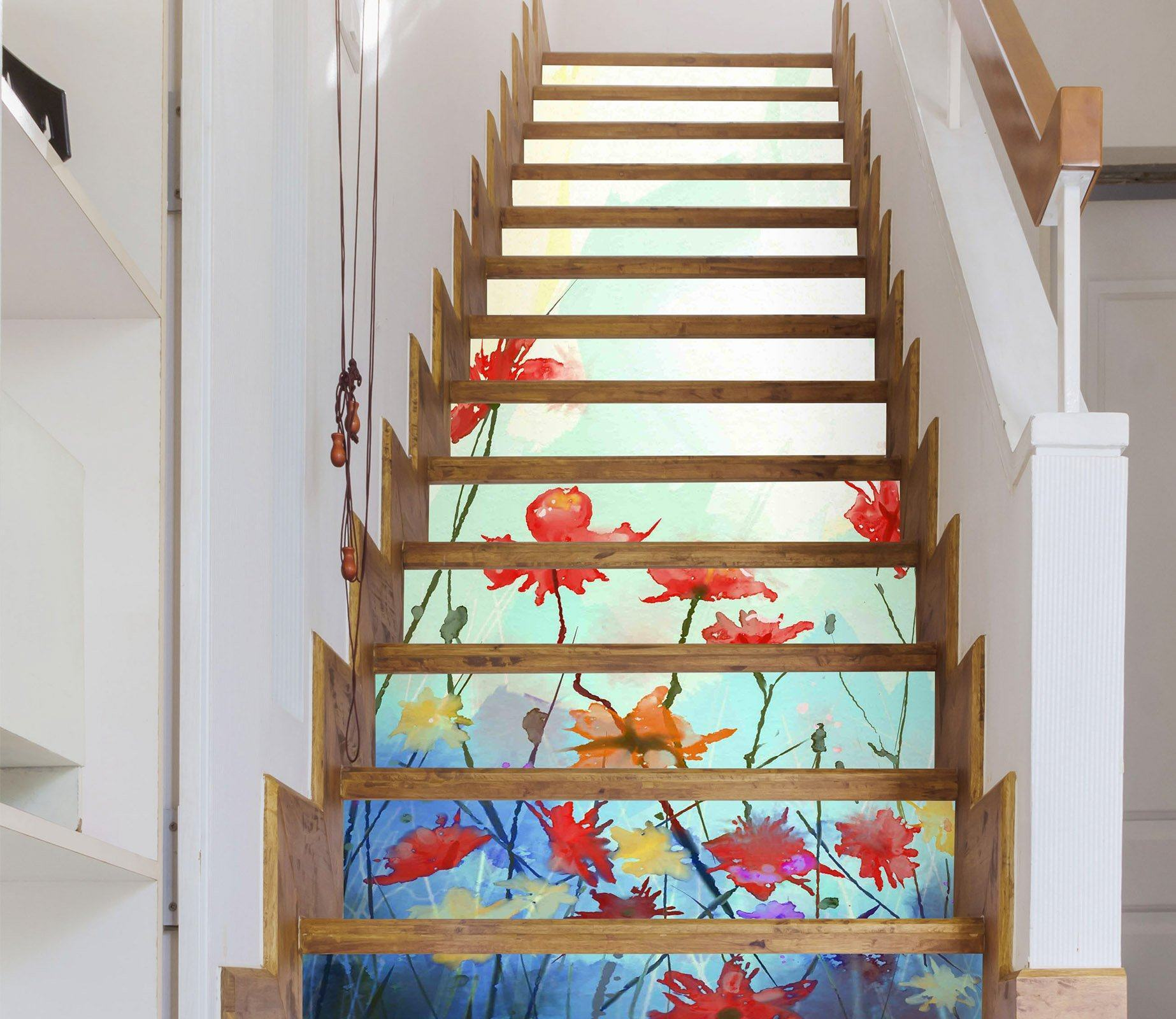3D Flowers 316 Stair Risers Wallpaper AJ Wallpaper