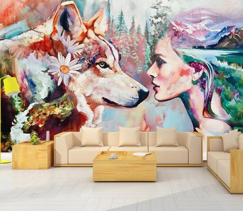 3D Dog And Beauty WC32 Wall Murals