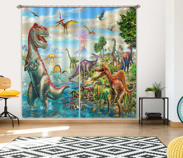 3D Dinosaur Falls 059 Adrian Chesterman Curtain Curtains Drapes