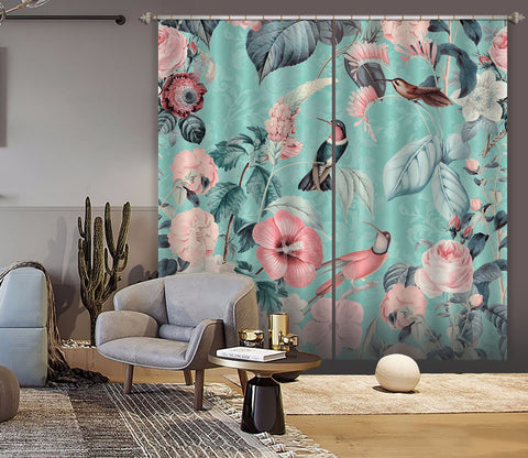 3D Bird And Flower Forest 064 Andrea haase Curtain Curtains Drapes