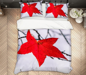 3D Red Leaf 135 Marco Carmassi Bedding Bed Pillowcases Quilt