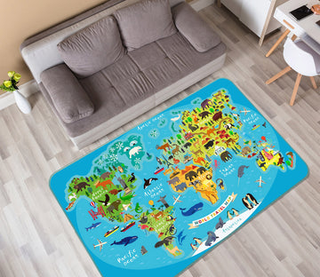 3D Island Forest 314 World Map Non Slip Rug Mat