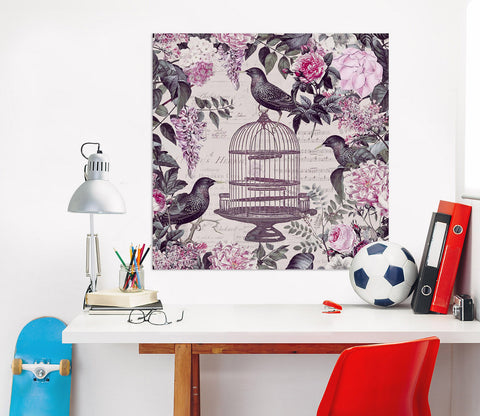 3D Birdcage And Flowers 048 Andrea haase Wall Sticker