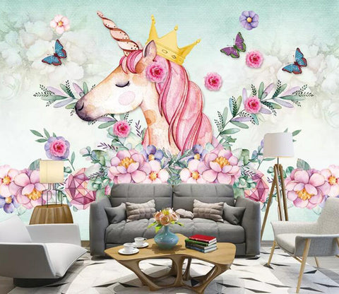3D Unicorn Flower WG29 Wall Murals