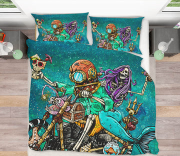 3D Skeleton War 115 David Lozeau Bedding Bed Pillowcases Quilt