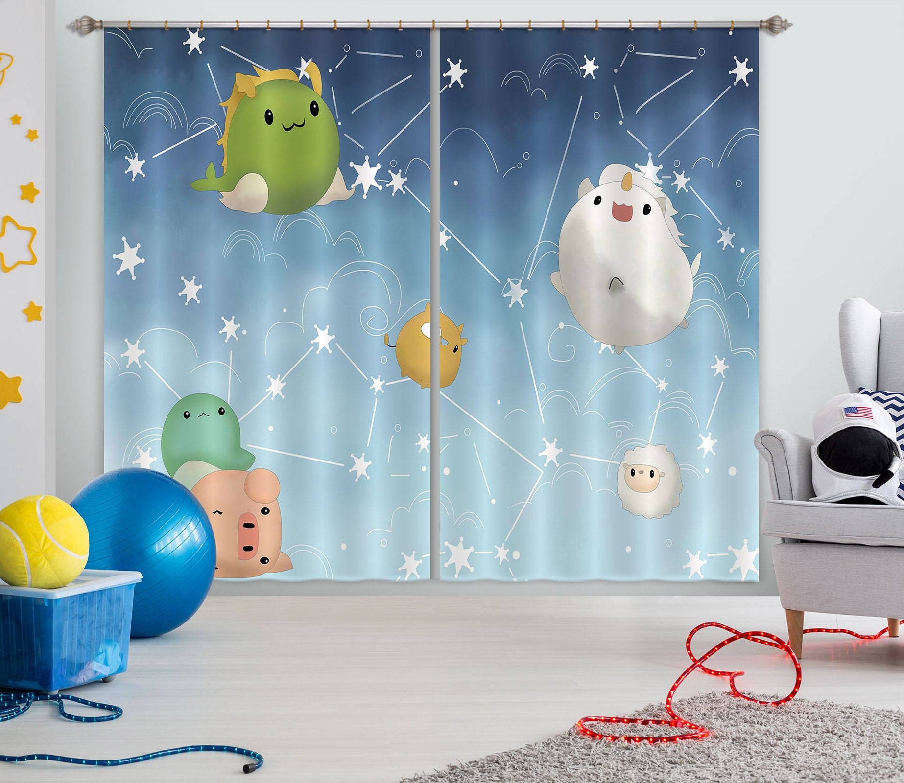 3D Cute Bug 737 Curtains Drapes