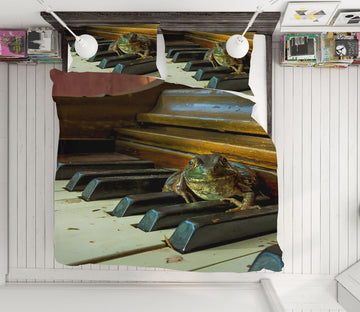 3D Frog Piano 1029 Jerry LoFaro bedding Bed Pillowcases Quilt
