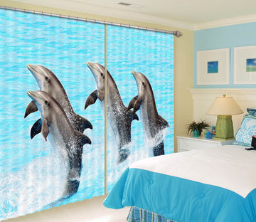 3D Dolphin Play 705 Curtains Drapes