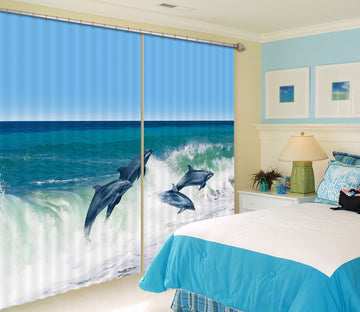 3D Sea Dolphin 800 Curtains Drapes