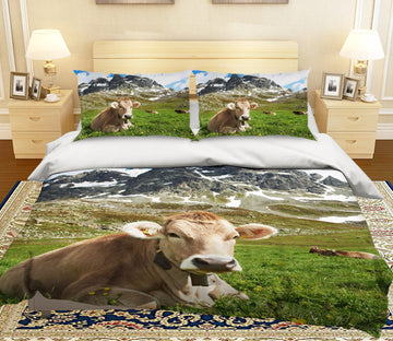 3D Mountain Cow 123 Bed Pillowcases Quilt