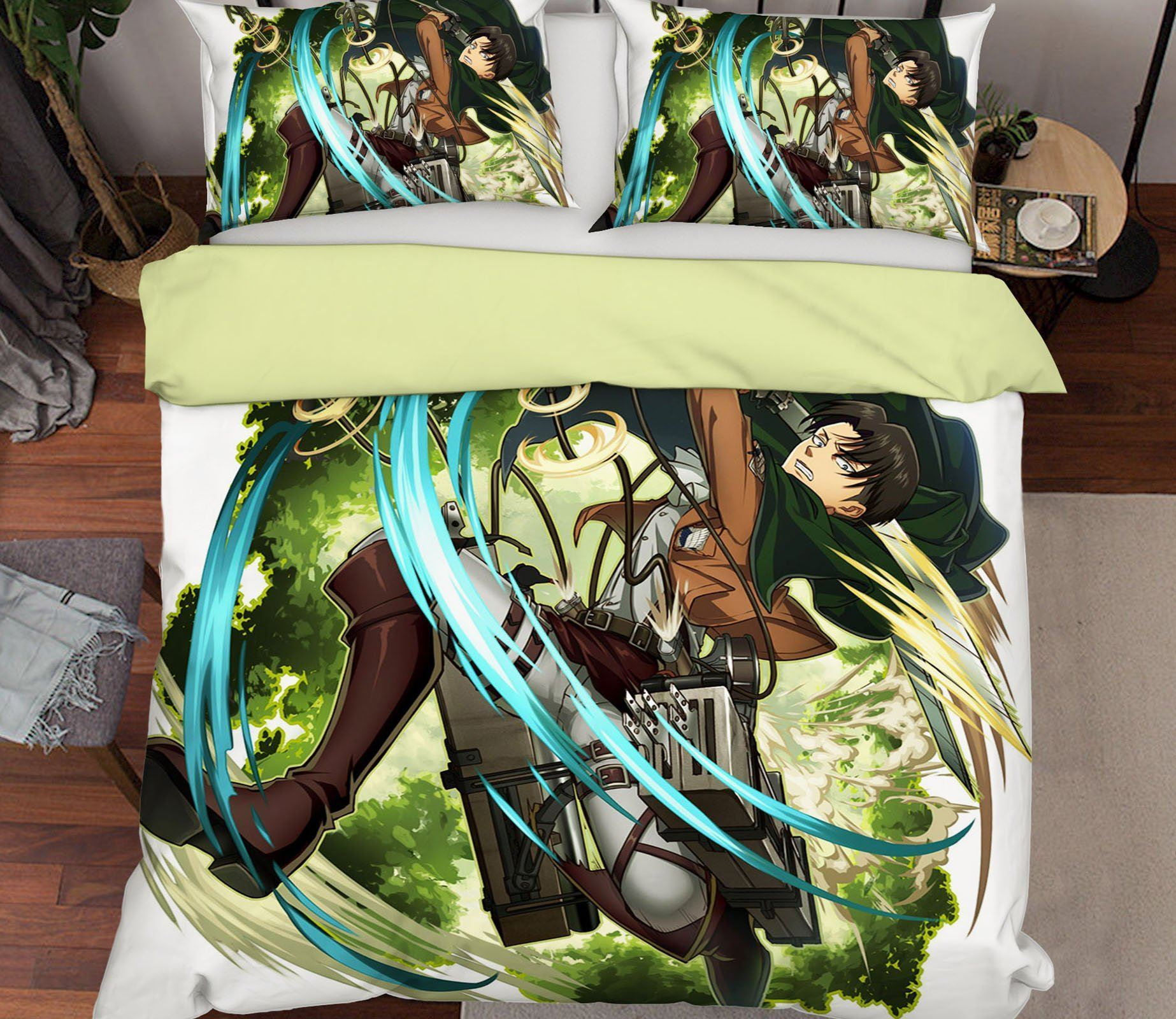 3D Attack On Titan 12 Anime Bed Pillowcases Quilt Quiet Covers AJ Creativity Home