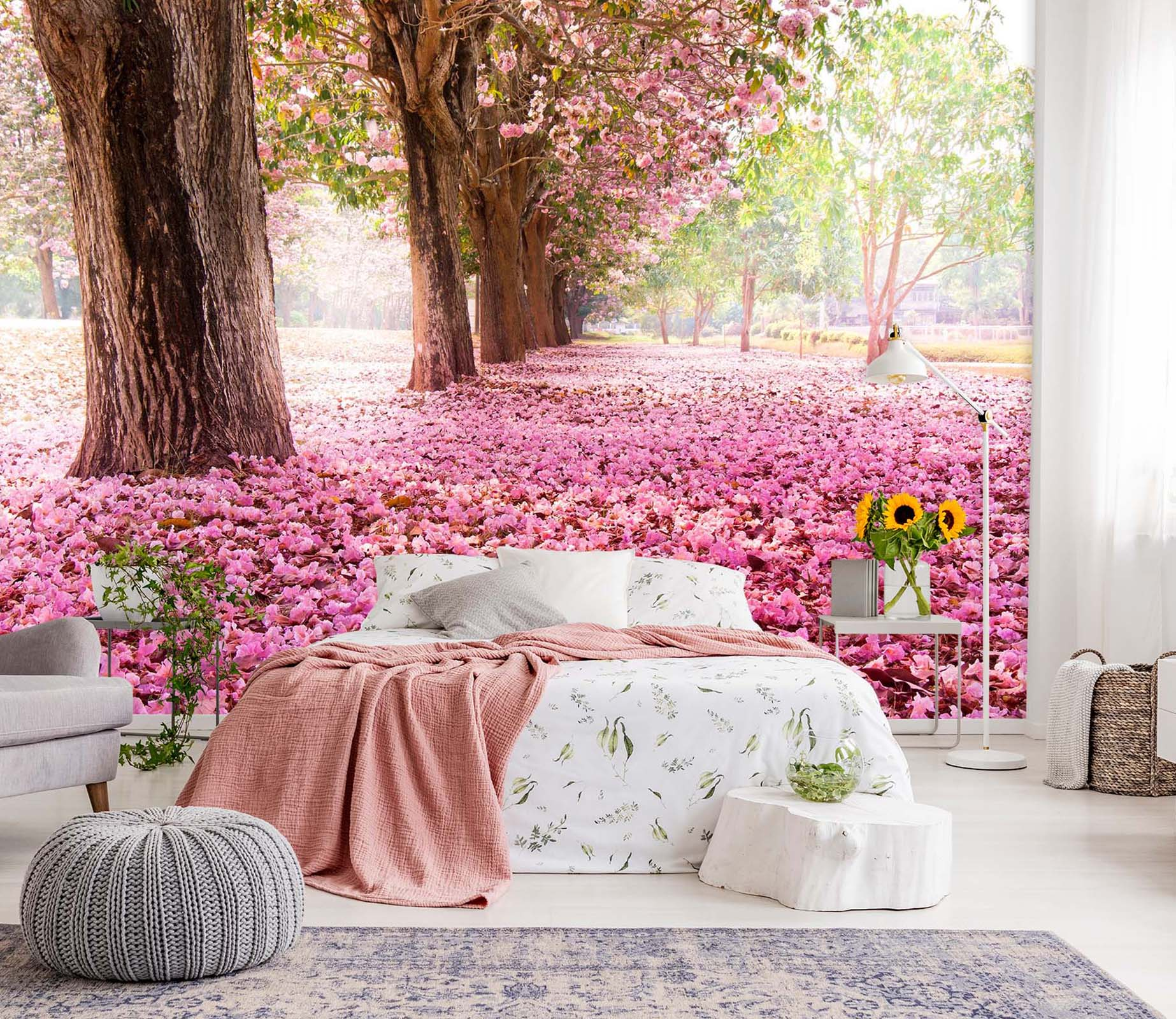 3D Pink Cherry Tree 144 Wall Murals