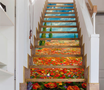 3D Oil Painting Flowers 99 Stair Risers Wallpaper AJ Wallpaper