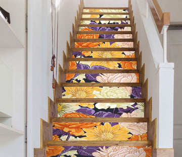 3D Bright Flowers 512 Stair Risers Wallpaper AJ Wallpaper