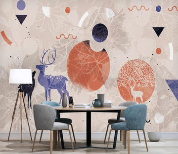 3D Purple Charming Deer 2590 Wall Murals