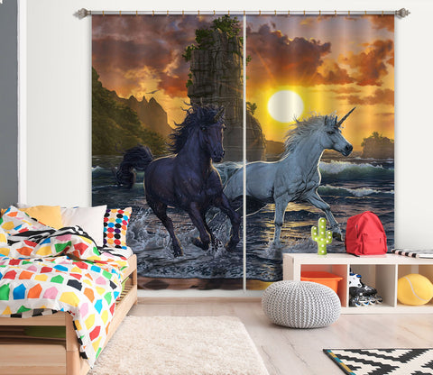 3D Unicorns In Sunset 088 Vincent Hie Curtain Curtains Drapes