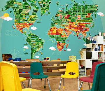 3D Abstract Art 2060 World Map Wall Murals