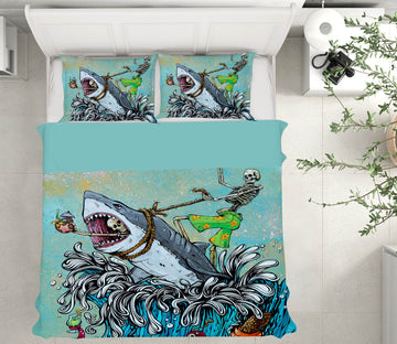 3D Great White Shark 110 David Lozeau Bedding Bed Pillowcases Quilt