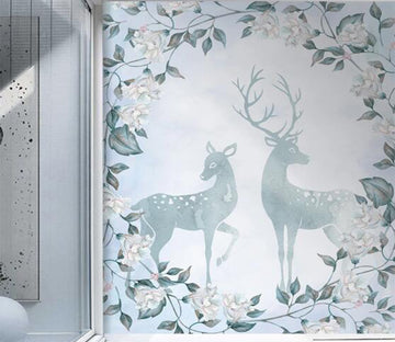 3D Light Blue Hazy Deer 2614 Wall Murals