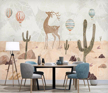 3D Deer In The Desert 2576 Wall Murals