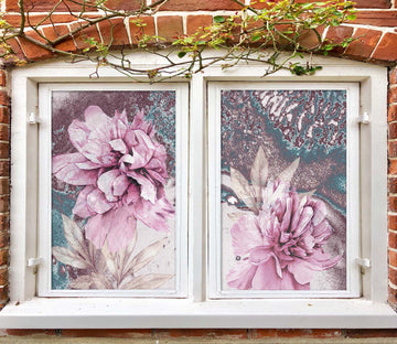3D Pink Flower 426 Window Film Print Sticker Cling Stained Glass UV Block