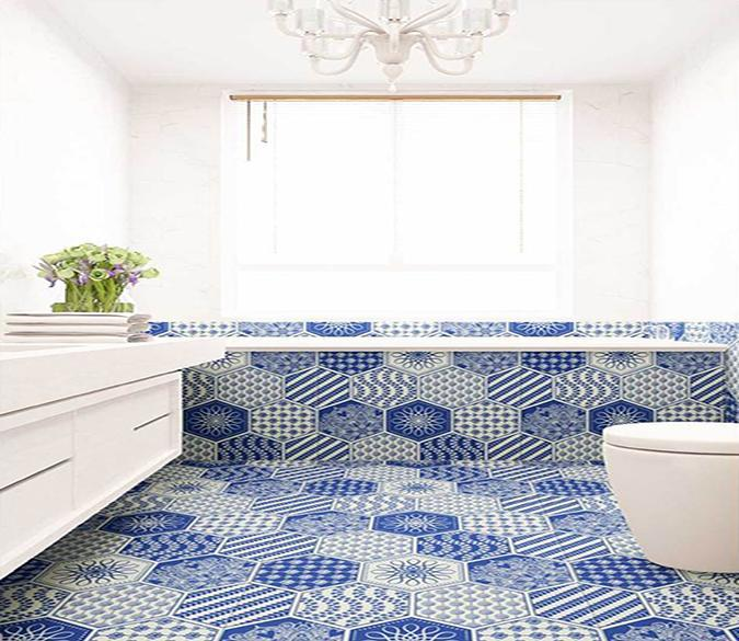 3D Blue Pattern WG054 Floor Mural