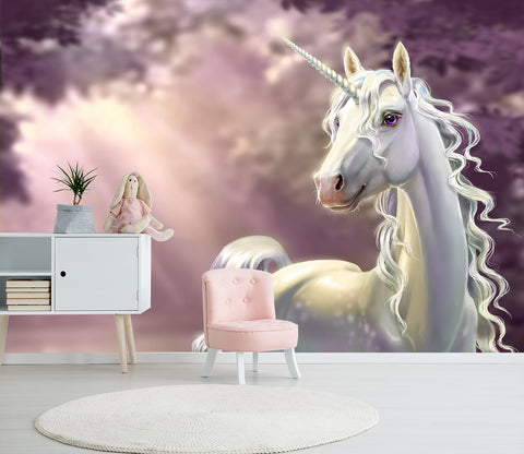 3D Elegant White Unicorn 042 Wall Murals