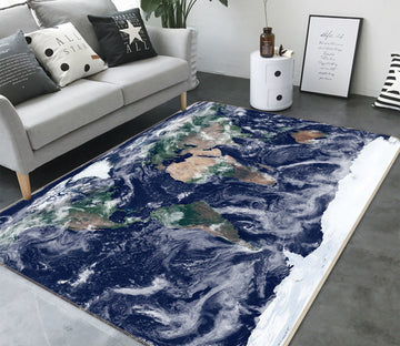 3D Sea Wave 284 World Map Non Slip Rug Mat