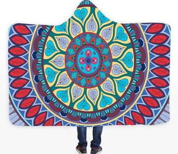 3D Green Lotus 087 Hooded Blanket