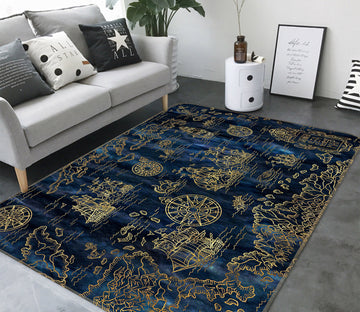 3D Golden Ship 288 World Map Non Slip Rug Mat