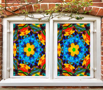 3D Vintage Flower 423 Window Film Print Sticker Cling Stained Glass UV Block